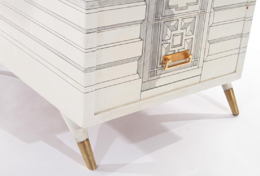 PAINTED FORNASETTI STYLE 5 DRAWER DESK 1960 - 6