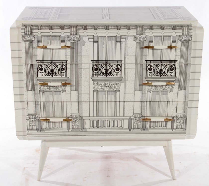 FORNASETTI STYLE PAINTED 3 DRAWER COMMODE 1960