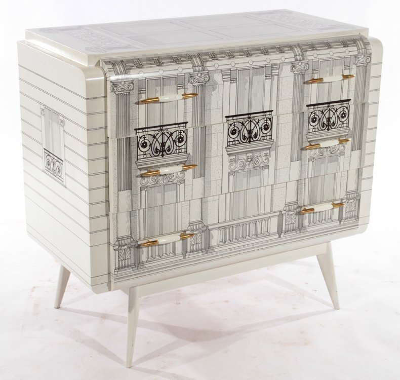 FORNASETTI STYLE PAINTED 3 DRAWER COMMODE 1960 - 2