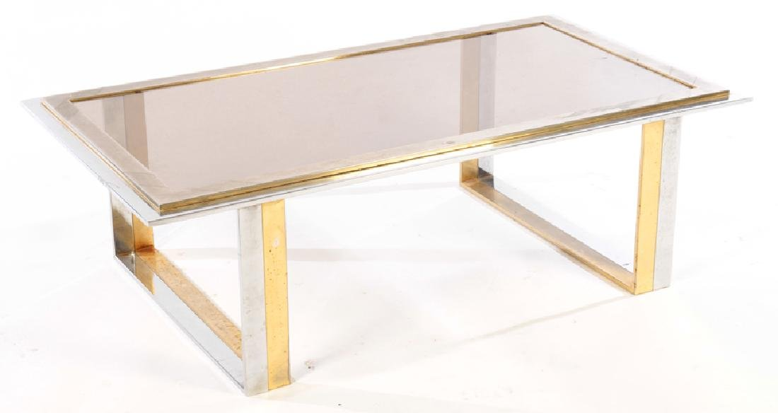 TWO TONE BRASS PLATED CHROME COFFEE TABLE 1970