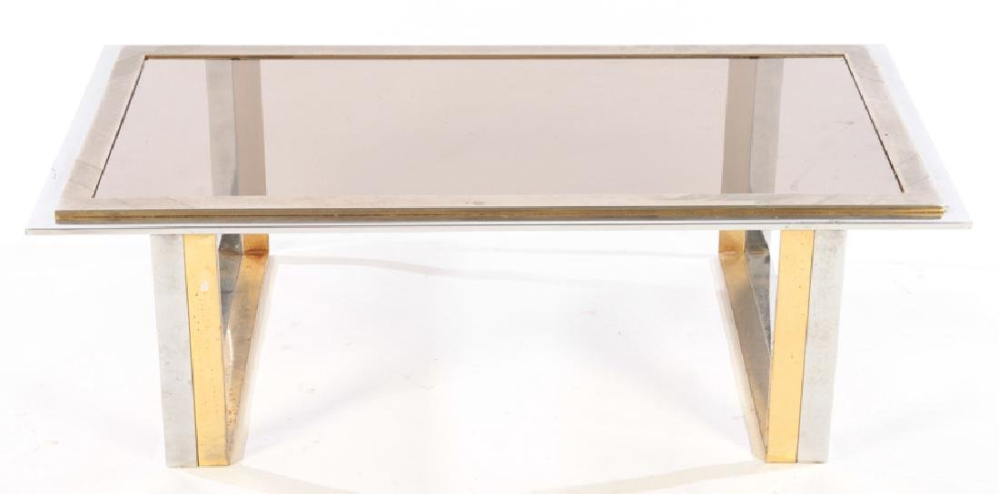 TWO TONE BRASS PLATED CHROME COFFEE TABLE 1970 - 2