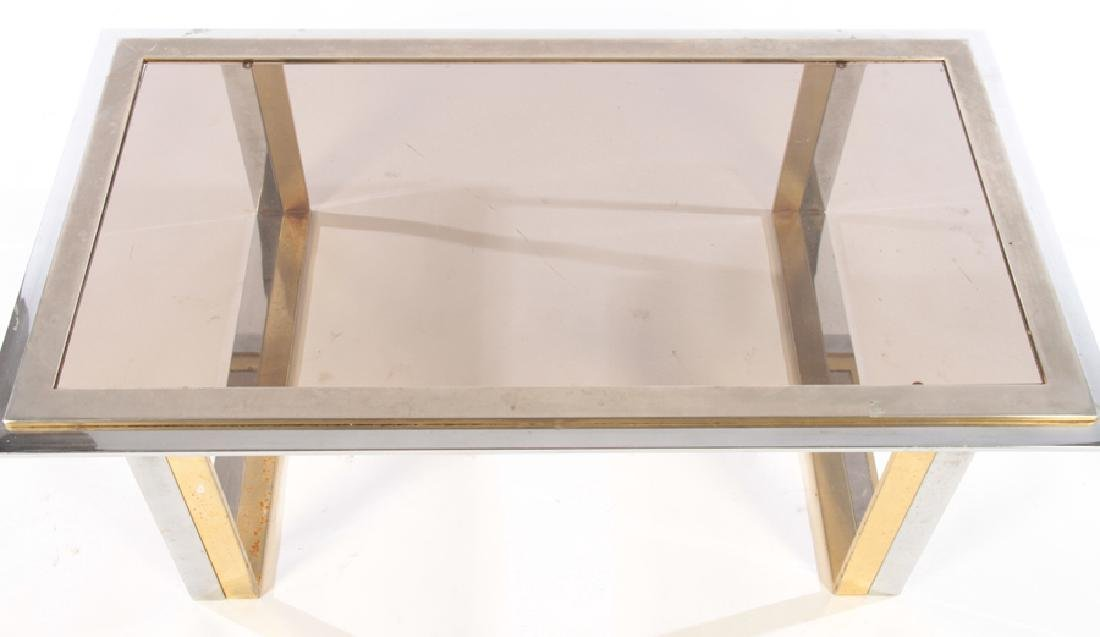 TWO TONE BRASS PLATED CHROME COFFEE TABLE 1970 - 3