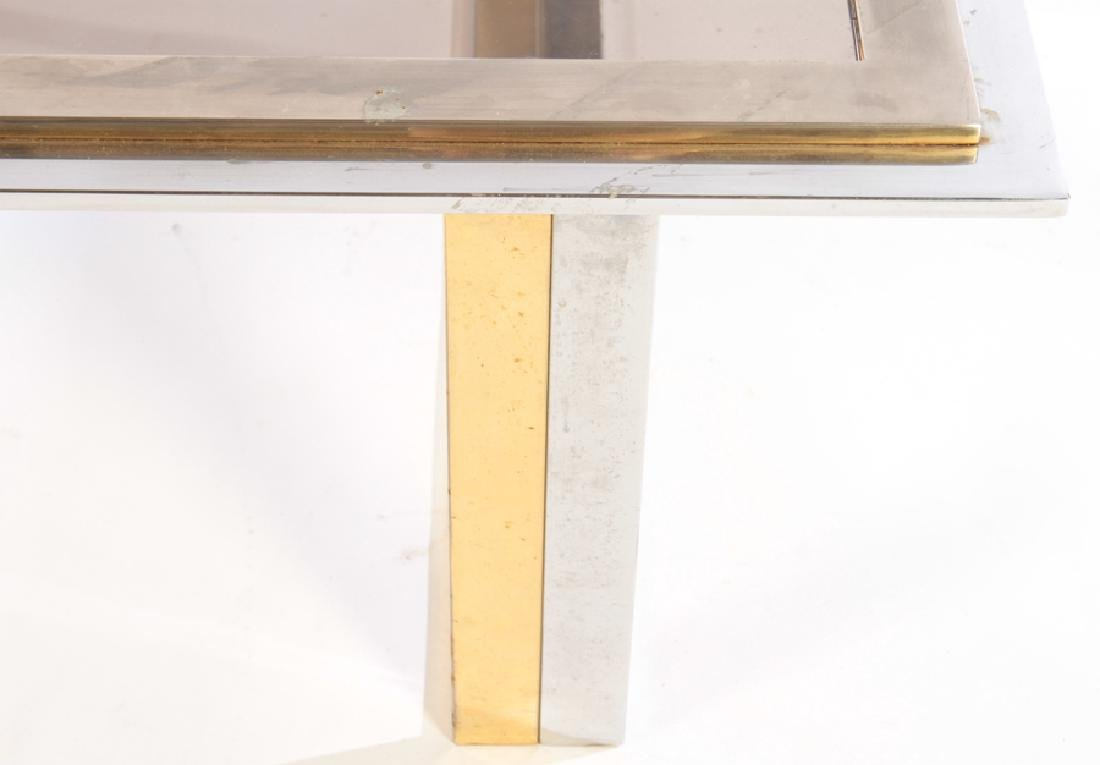 TWO TONE BRASS PLATED CHROME COFFEE TABLE 1970 - 4