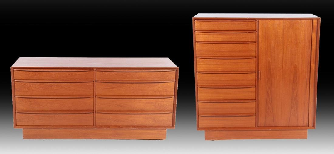 LABELED FALSTER DANISH WALNUT COMMODE AND CABINET