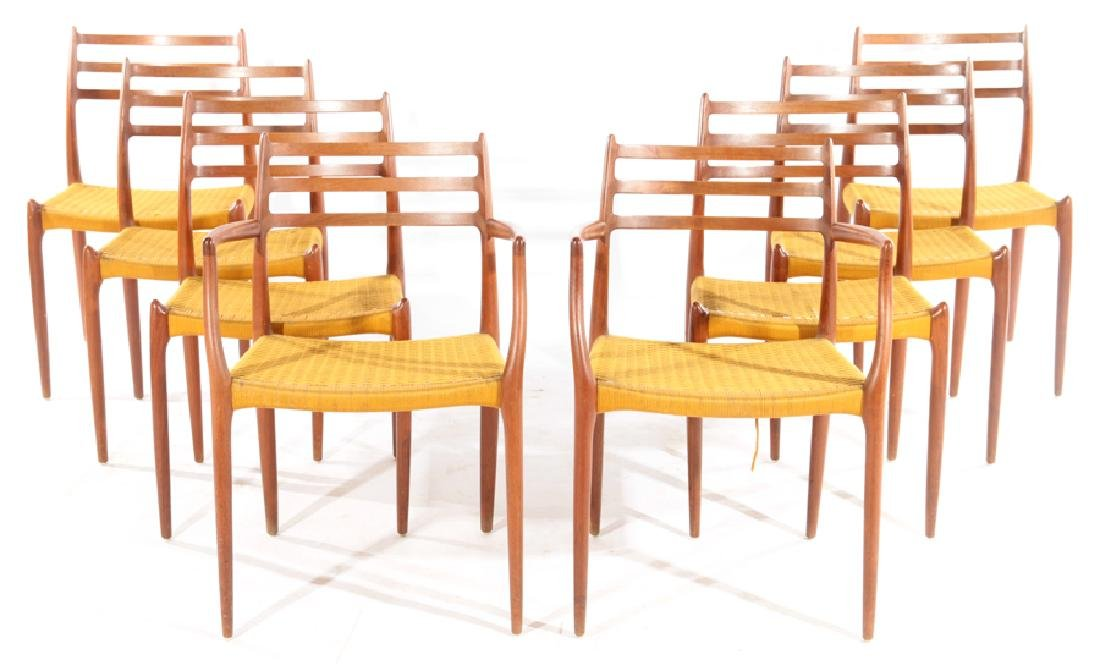 SET 8 LABELED L.MOLLER DINING WALNUT CHAIRS 1960
