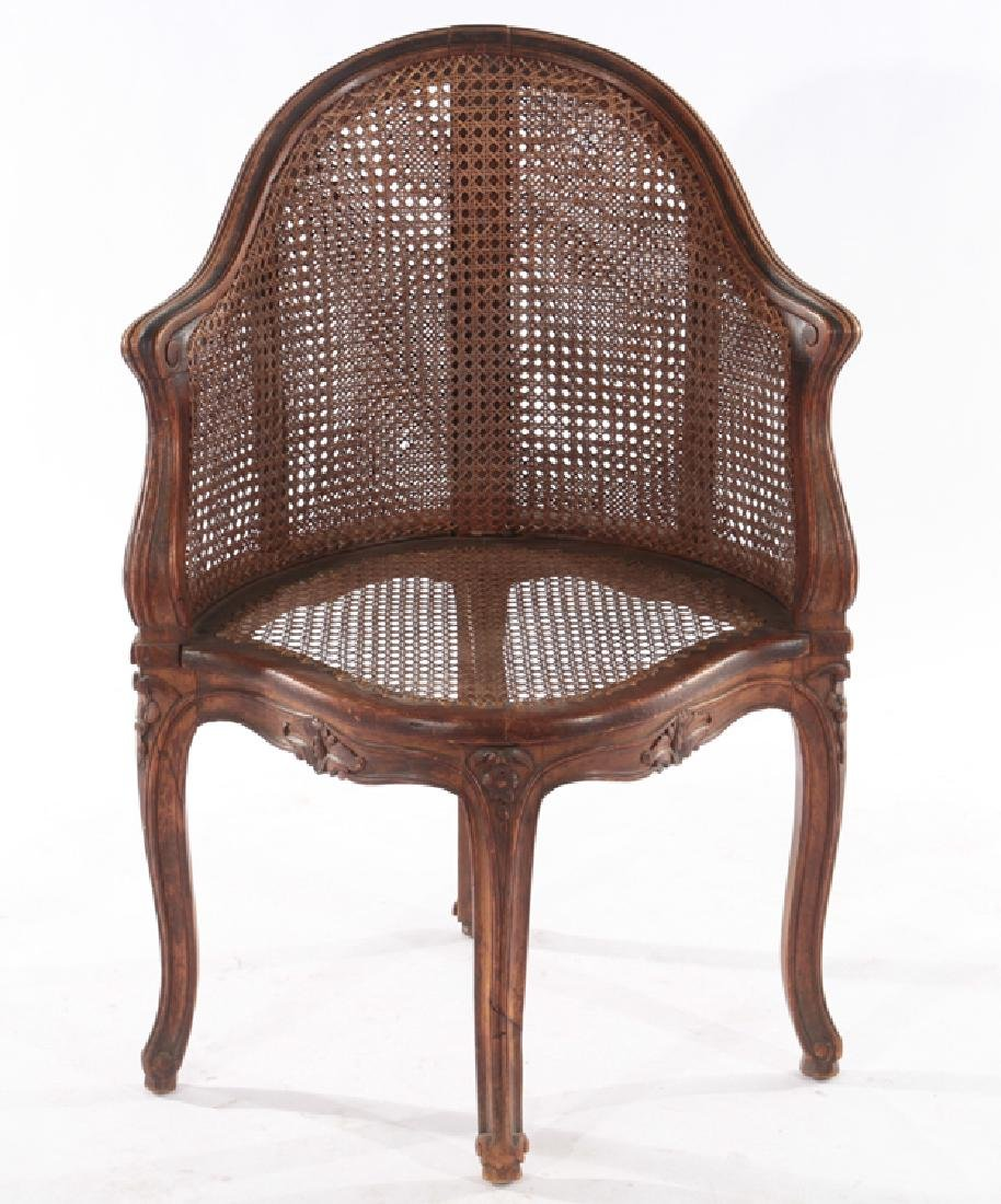 CARVED WALNUT CORNER CHAIR DOUBLE CANE BACK 1910