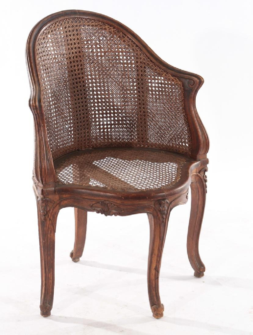 CARVED WALNUT CORNER CHAIR DOUBLE CANE BACK 1910 - 2