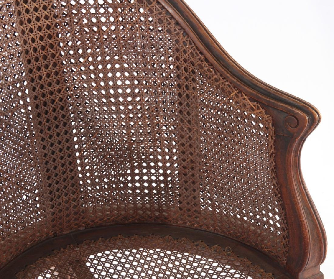 CARVED WALNUT CORNER CHAIR DOUBLE CANE BACK 1910 - 3