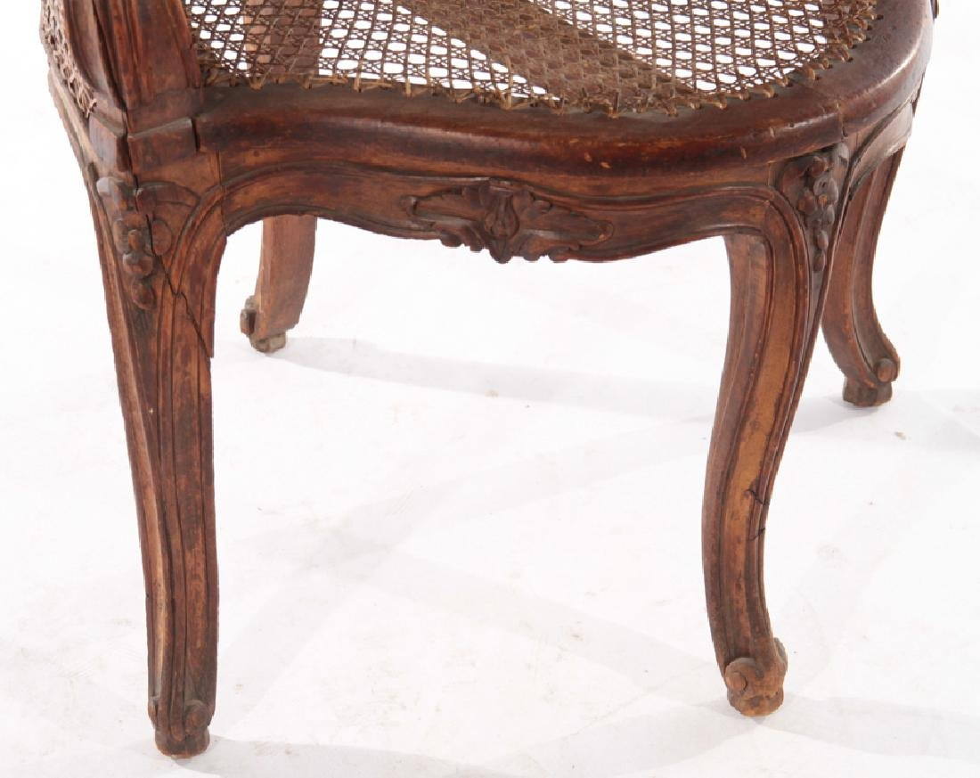 CARVED WALNUT CORNER CHAIR DOUBLE CANE BACK 1910 - 4