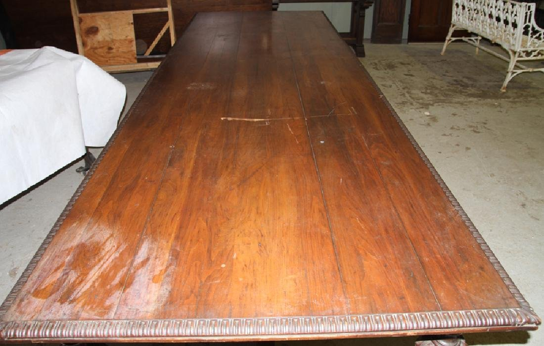 LARGE CARVED WALNUT JACOBEAN 4 DRAWER TABLE 1920 - 2