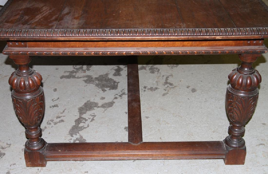 LARGE CARVED WALNUT JACOBEAN 4 DRAWER TABLE 1920 - 4