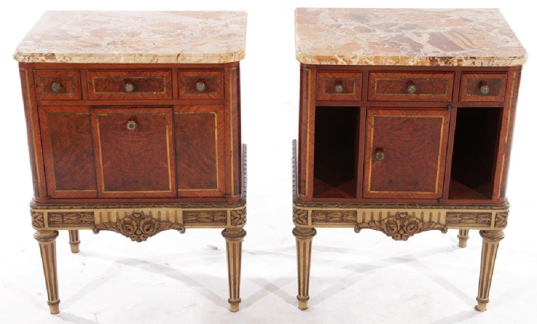 PAIR MAHOGANY MARBLE TOP NIGHT STANDS 1930