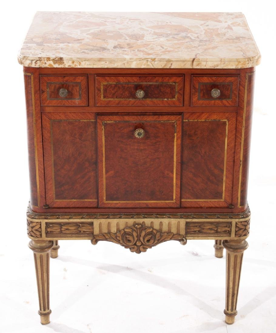 PAIR MAHOGANY MARBLE TOP NIGHT STANDS 1930 - 2