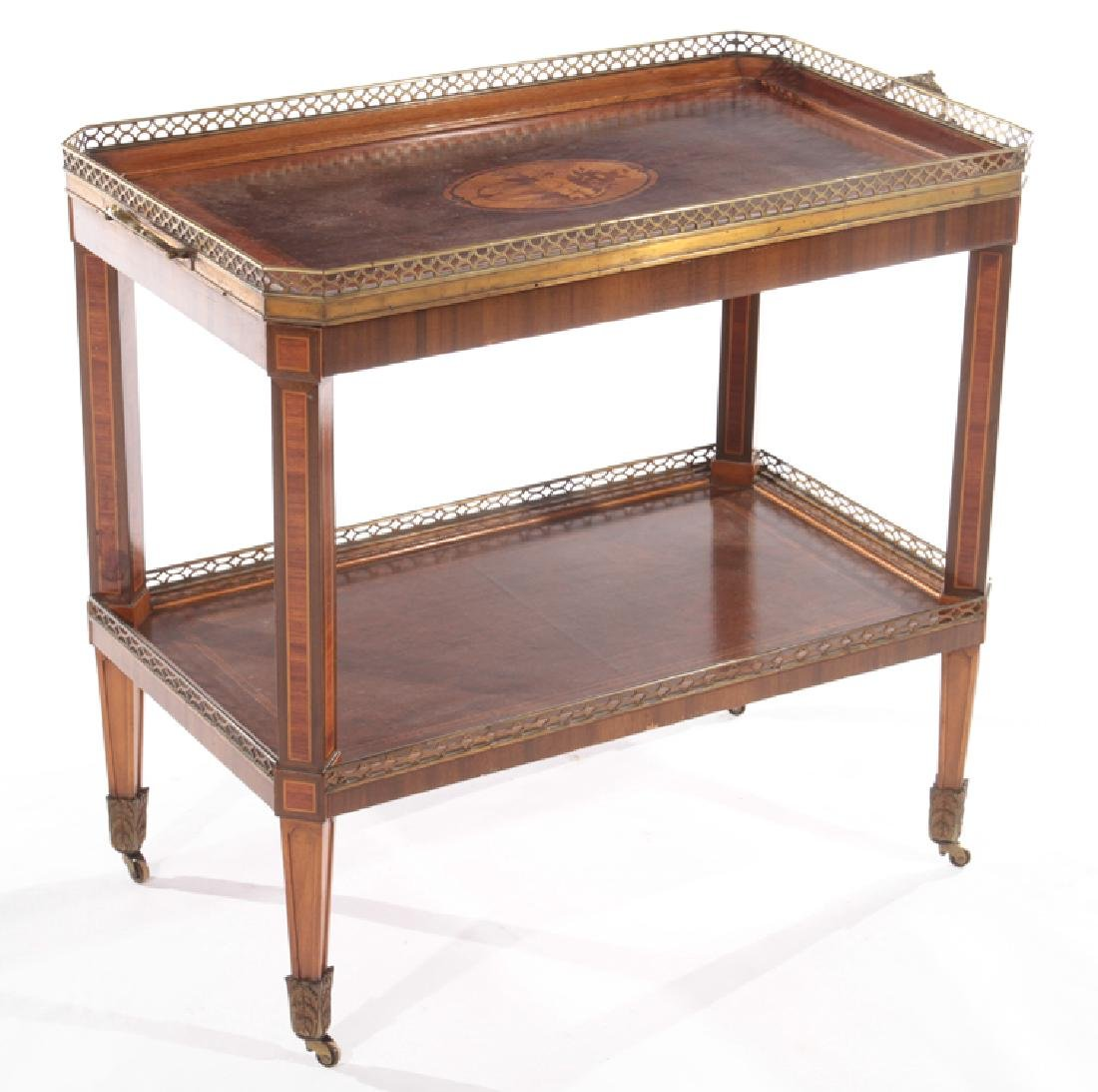 BRONZE MOUNTED INLAID MAHOGANY DRINKS TABLE 1910