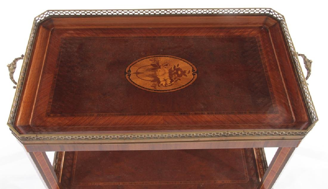 BRONZE MOUNTED INLAID MAHOGANY DRINKS TABLE 1910 - 3
