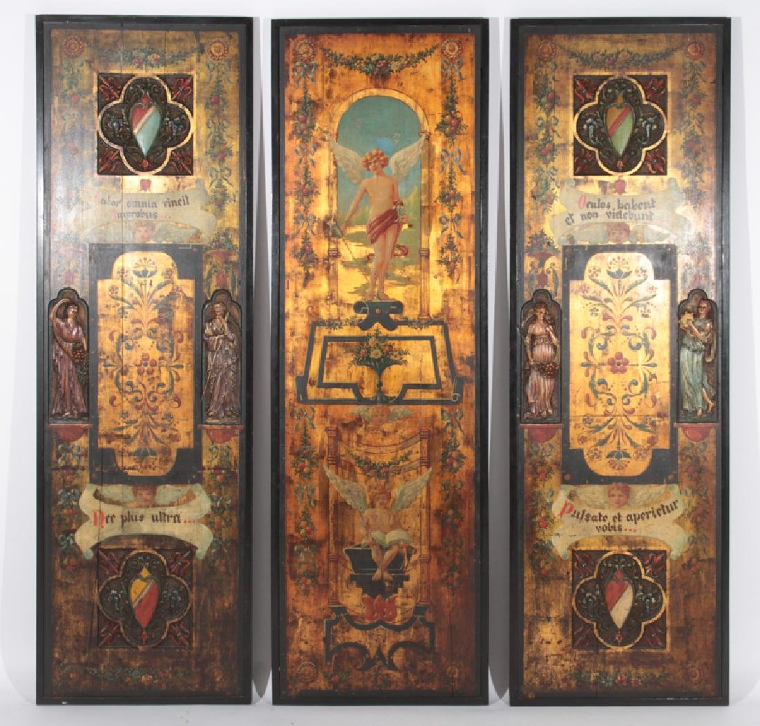 CARVED AND PAINTED 3 PANEL SCREEN LATIN THEMED