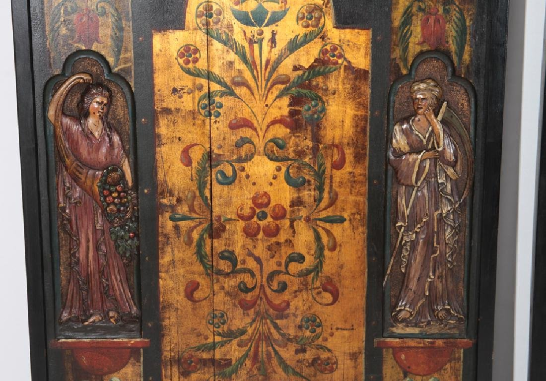 CARVED AND PAINTED 3 PANEL SCREEN LATIN THEMED - 3