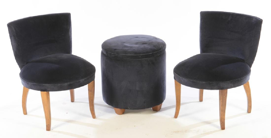 PAIR ART DECO STYLE CHAIRS MATCHING STOOLS 1930