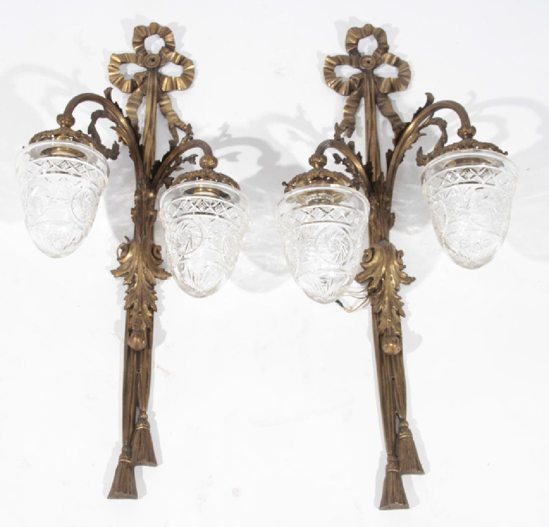 PAIR BRONZE 2 ARM CONTINENTAL WALL SCONCES C.1940