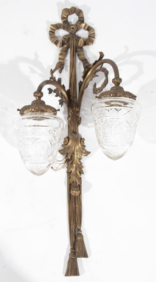 PAIR BRONZE 2 ARM CONTINENTAL WALL SCONCES C.1940 - 2