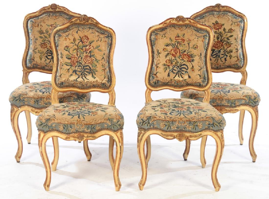 SET 4 19TH CENTURY CARVED LOUIS XV DINING CHAIRS