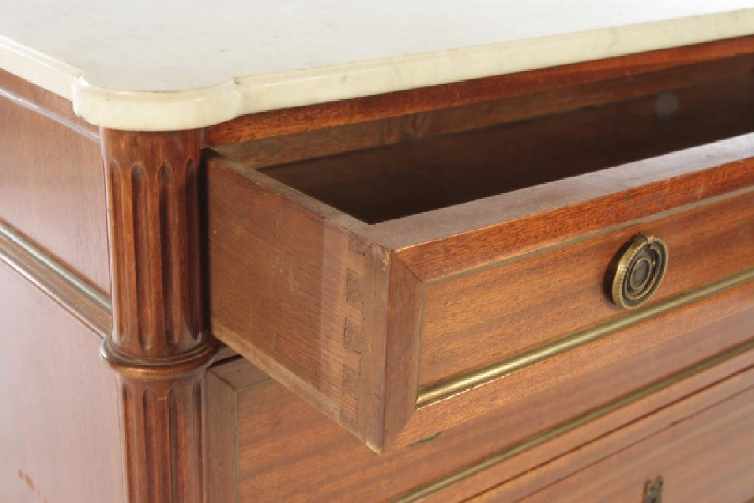 FRENCH MAHOGANY MARBLE TOP 3 DRAWER COMMODE 1950 - 4