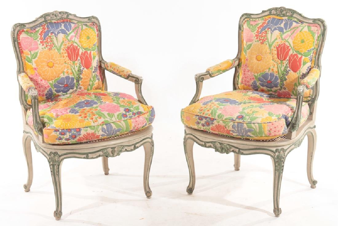 PAIR CARVED POLYCHROMED OPEN ARM CHAIRS 1900