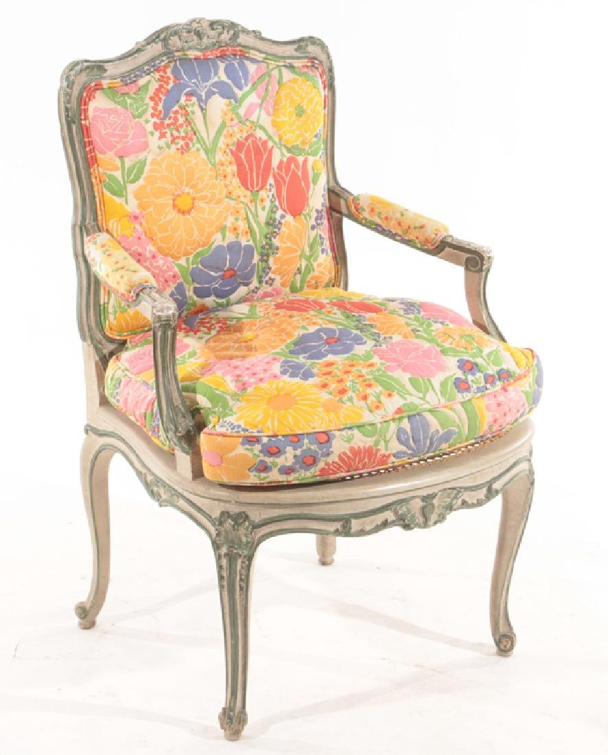PAIR CARVED POLYCHROMED OPEN ARM CHAIRS 1900 - 2