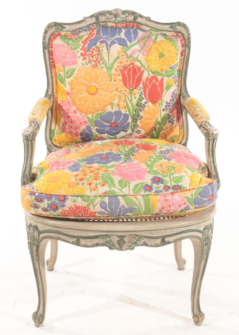 PAIR CARVED POLYCHROMED OPEN ARM CHAIRS 1900 - 3