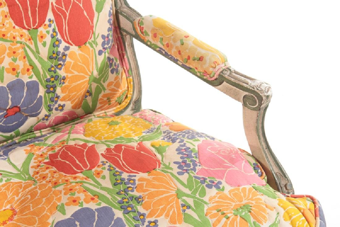 PAIR CARVED POLYCHROMED OPEN ARM CHAIRS 1900 - 5