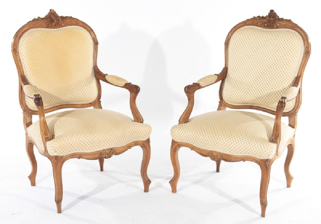 PAIR OF LOUIS XV STYLE FRENCH ARMCHAIRS C.1910