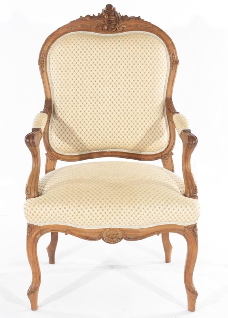 PAIR OF LOUIS XV STYLE FRENCH ARMCHAIRS C.1910 - 3