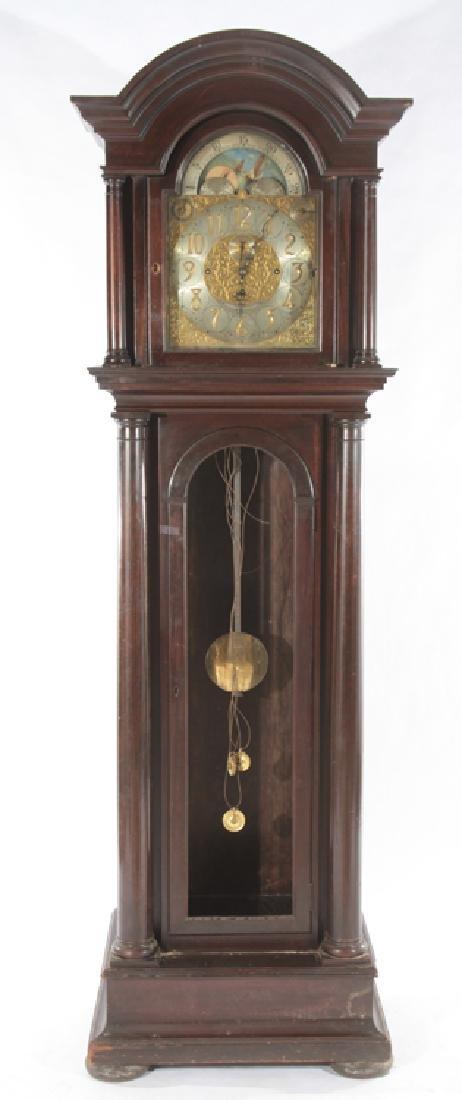 WALTHAM 9 TUBE MAHOGANY TALL CASE CLOCK C.1900