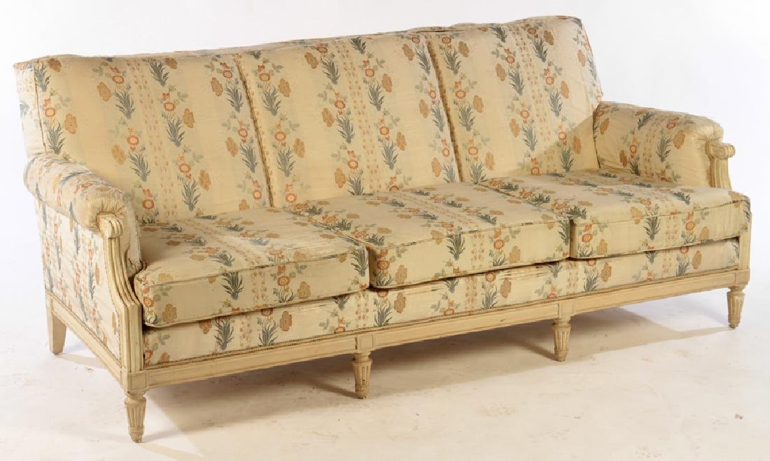CARVED PAINTED LOUIS XVI STYLE 7 LEG SOFA C. 1940