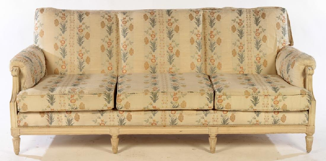 CARVED PAINTED LOUIS XVI STYLE 7 LEG SOFA C. 1940 - 2