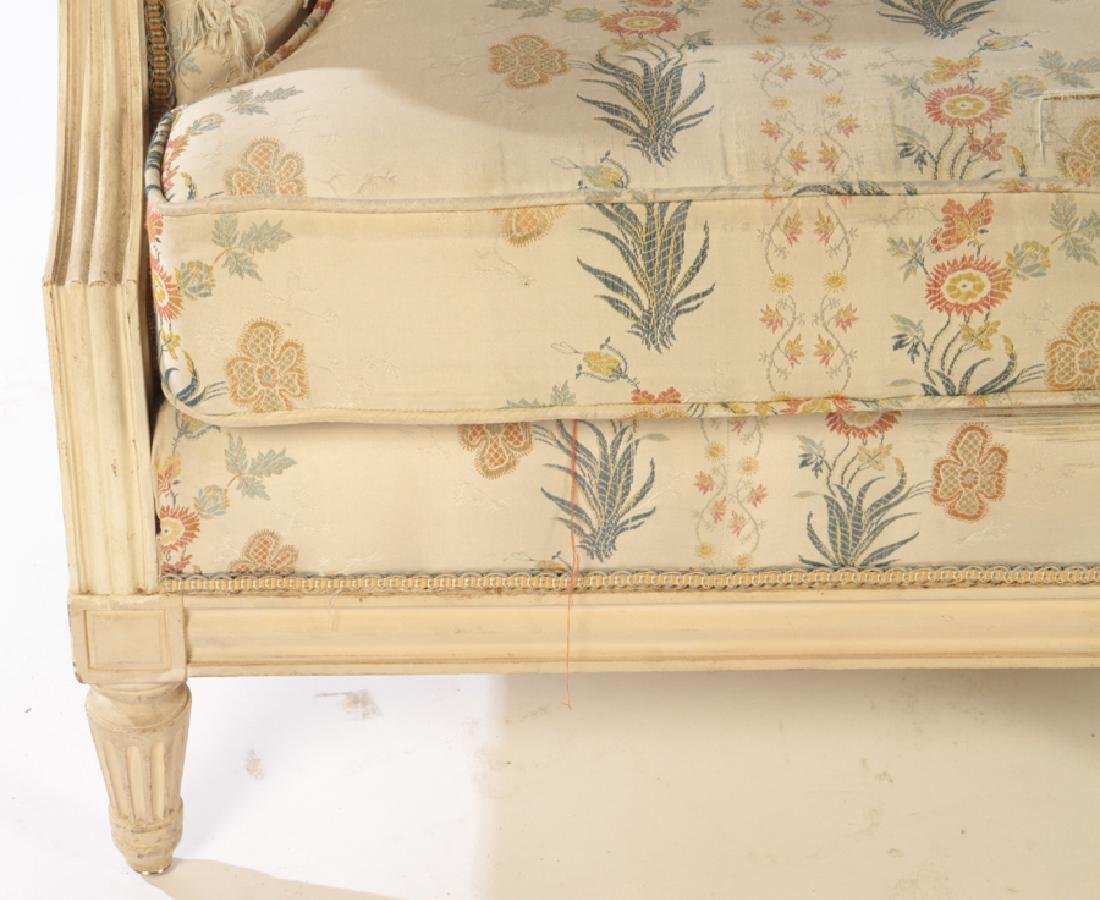 CARVED PAINTED LOUIS XVI STYLE 7 LEG SOFA C. 1940 - 4