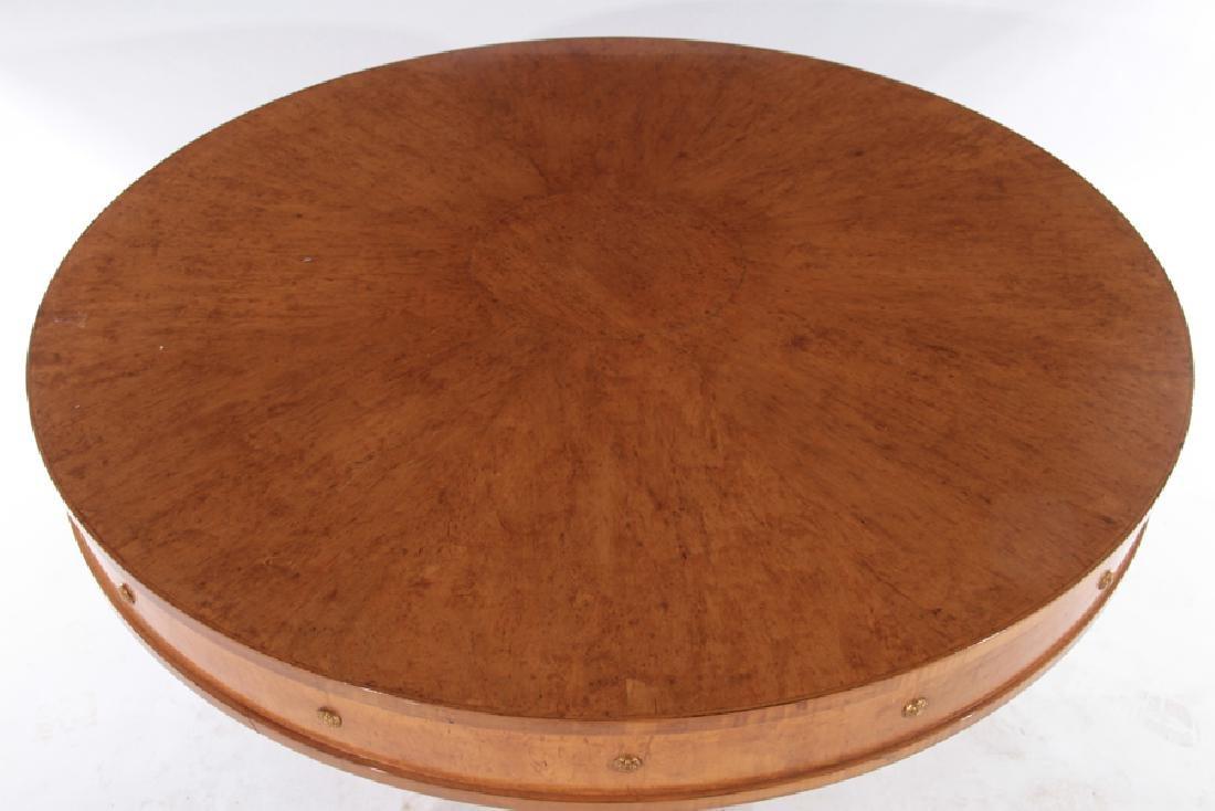 LABELED DESSIN FOURNIR BURL WOOD PEDESTAL TABLE - 2