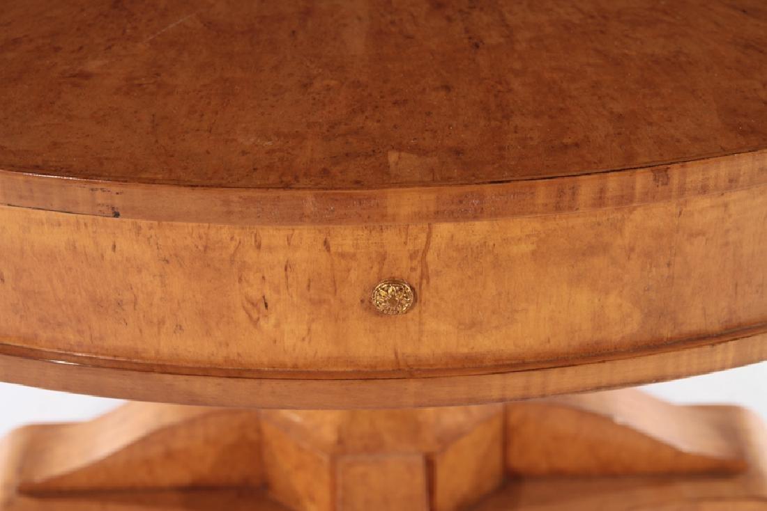 LABELED DESSIN FOURNIR BURL WOOD PEDESTAL TABLE - 3