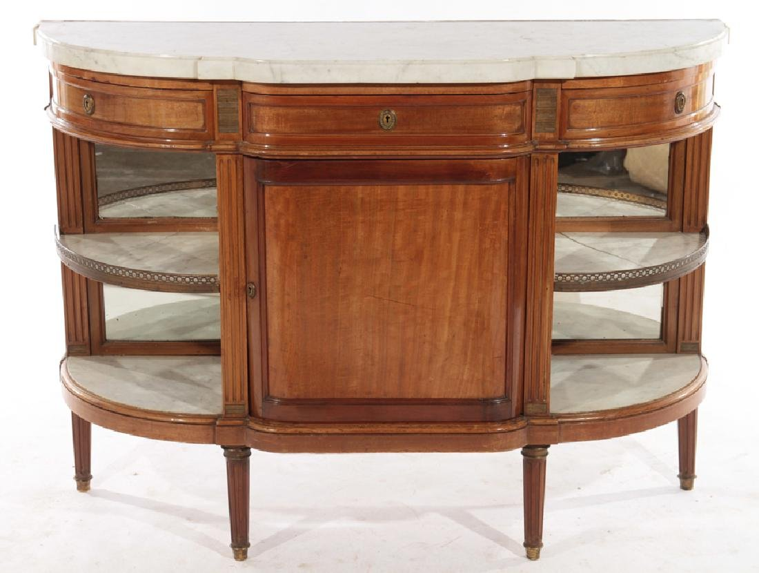 FRENCH MAHOGANY DESSERT SERVER MARBLE TOP 1920