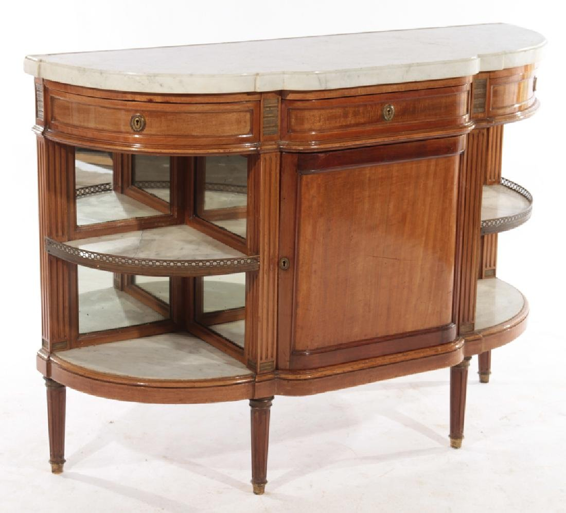FRENCH MAHOGANY DESSERT SERVER MARBLE TOP 1920 - 2