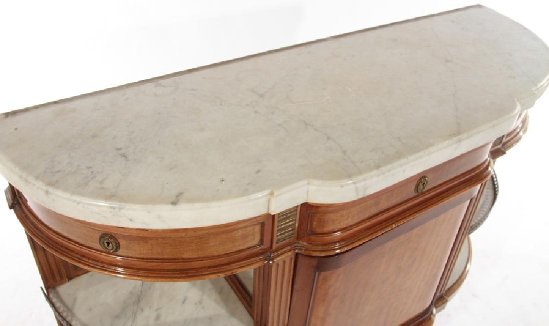 FRENCH MAHOGANY DESSERT SERVER MARBLE TOP 1920 - 3