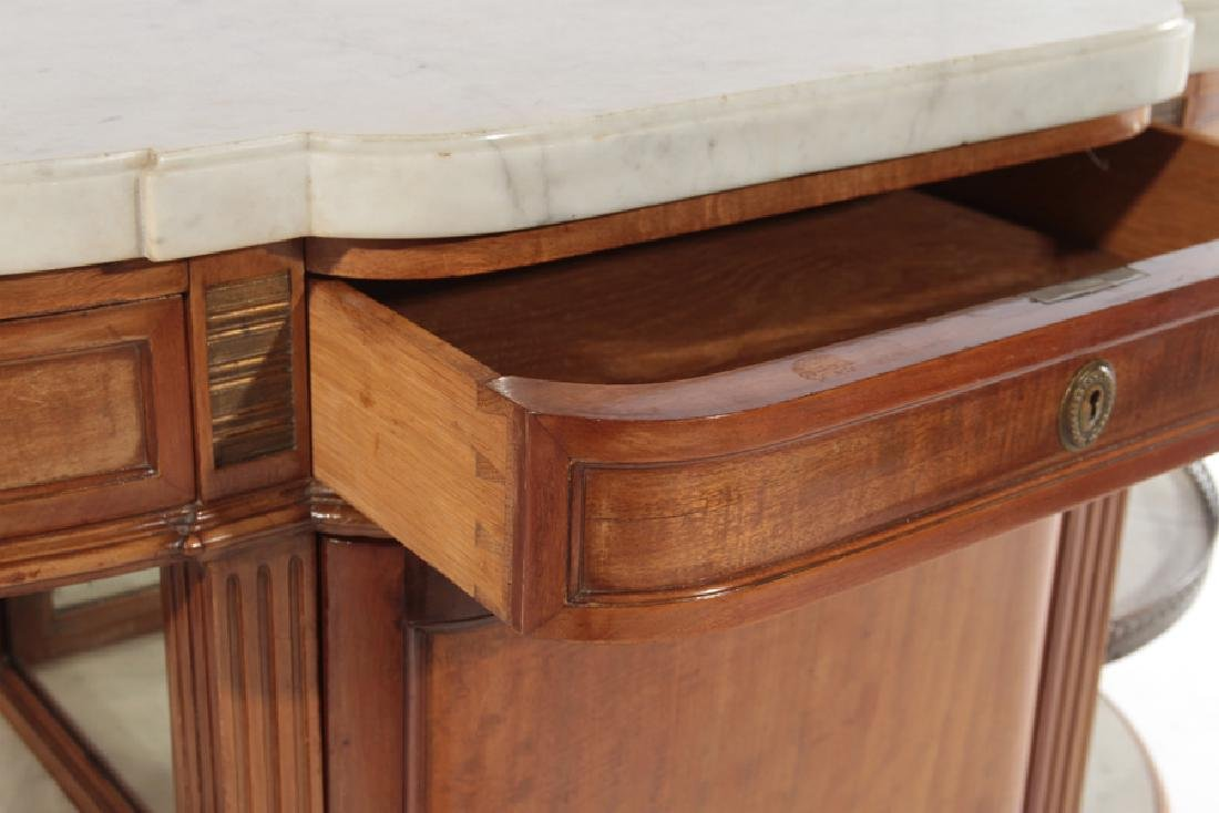 FRENCH MAHOGANY DESSERT SERVER MARBLE TOP 1920 - 4