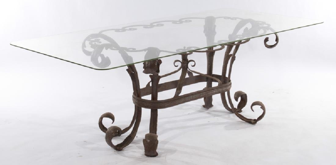LARGE LEAF FORM WROUGHT IRON GARDEN TABLE