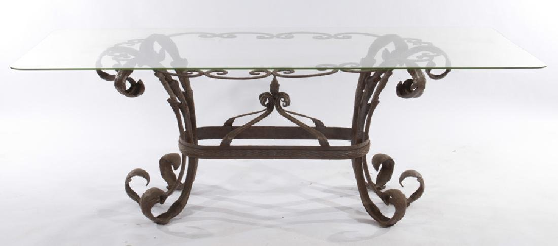 LARGE LEAF FORM WROUGHT IRON GARDEN TABLE - 2