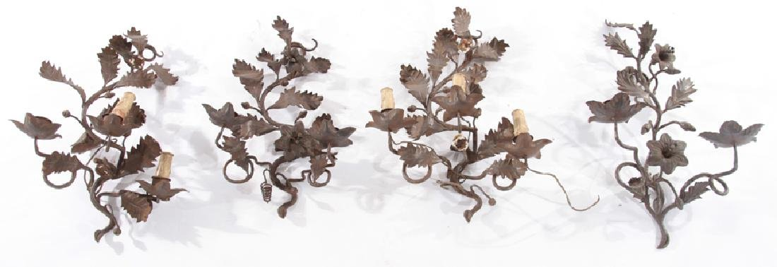 LOT OF 4 WROUGHT IRON TOLE DECORATED SCONCES
