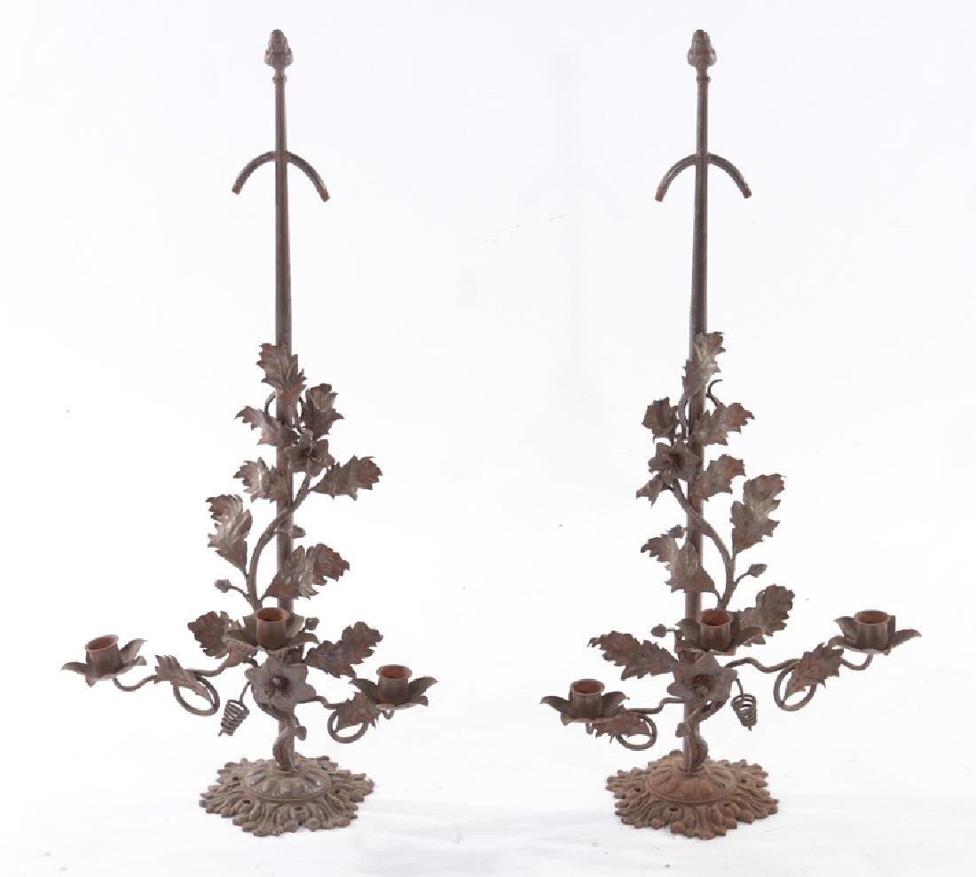 PAIR WROUGHT CAST IRON TABLE LAMPS 3 ARMS