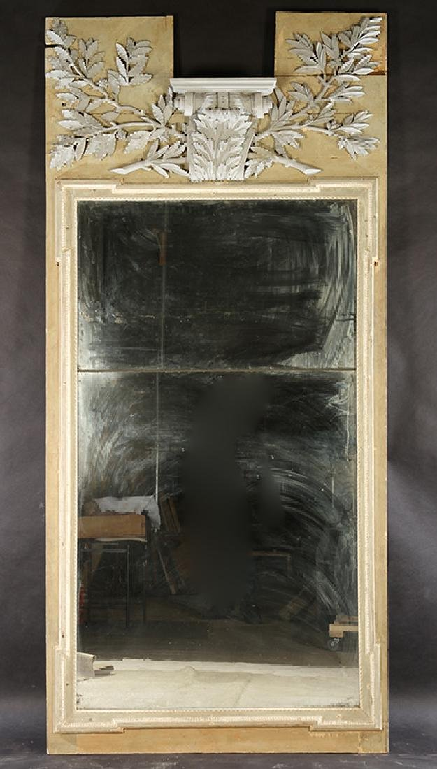 19TH CENT. FRENCH CARVED PAINTED TRUMEAU MIRROR