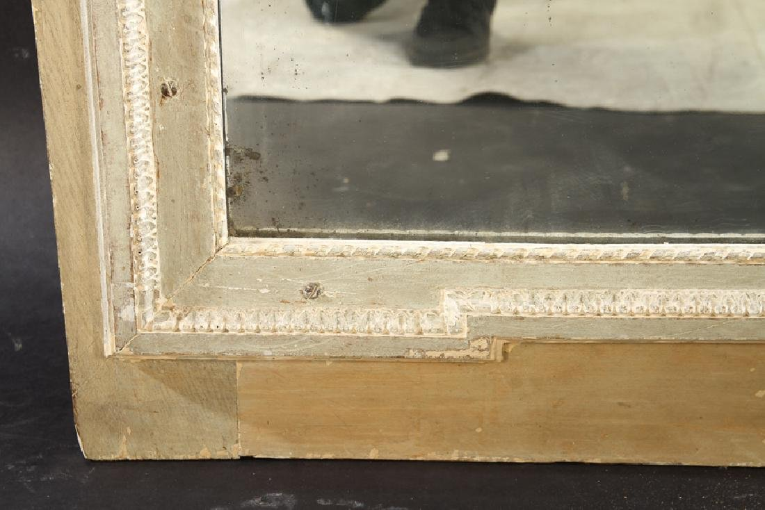 19TH CENT. FRENCH CARVED PAINTED TRUMEAU MIRROR - 4