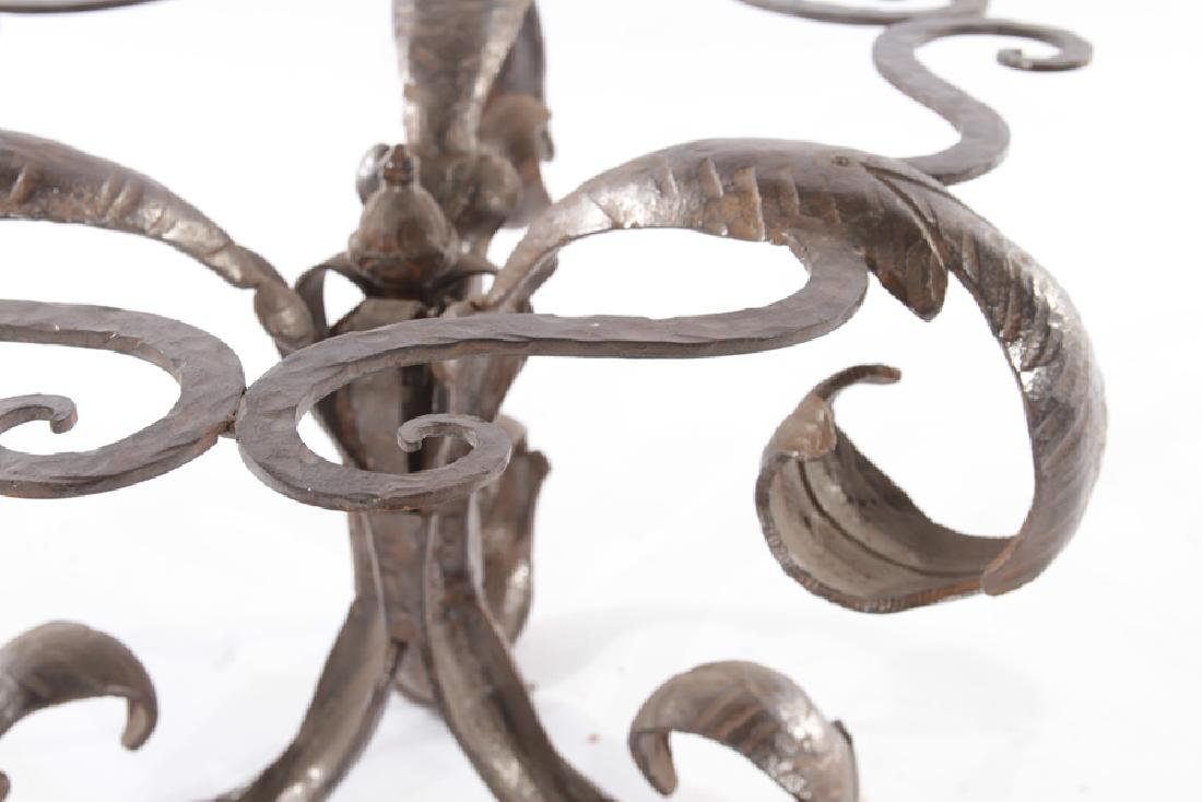 INTERESTING WROUGHT IRON LEAF FORM SIDE TABLE - 3