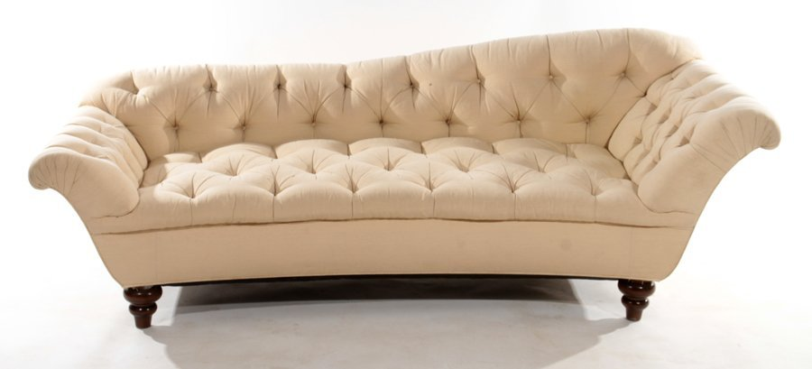 TUFTED SOFA CURVED FRONT ROLLED ARMS WOOD FEET - 2